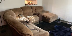 Recliner electric Full Sectional no scratches or dents or stains like new With 55in LG Smart Tv and Wall clock for Sale in Heidelberg, PA