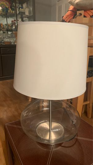 Glass lamp with shade for Sale in Melrose, MA