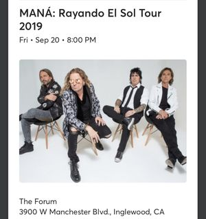 2 Mana concert tickets 9/20 for Sale in Los Angeles, CA