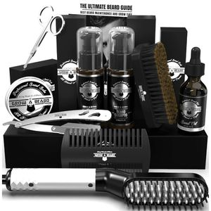 Beard Straightener Grooming Kit for Men, Beard Brush, Double Side Comb, Unscented Growth Oil, All Natural Chanel Balm, Shampoo, Conditioner, Razor & S for Sale in Victorville, CA