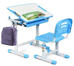 Kids Desk and Chair Set, Height Adjustable Children Study Table (blue ) for Sale in Moreno Valley, CA