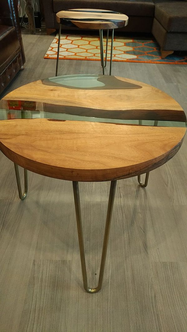 Resin and walnut coffee table
