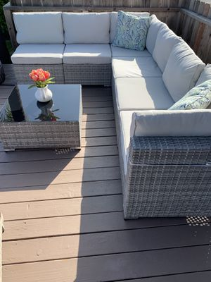 Promotion! NIB 7 Piece Outdoor Patio Furniture Sets, All Weather Grey PE Wicker Furniture Set, Patio Sectional Conversation Sofa Set with Coffee Table for Sale in Ontario, CA