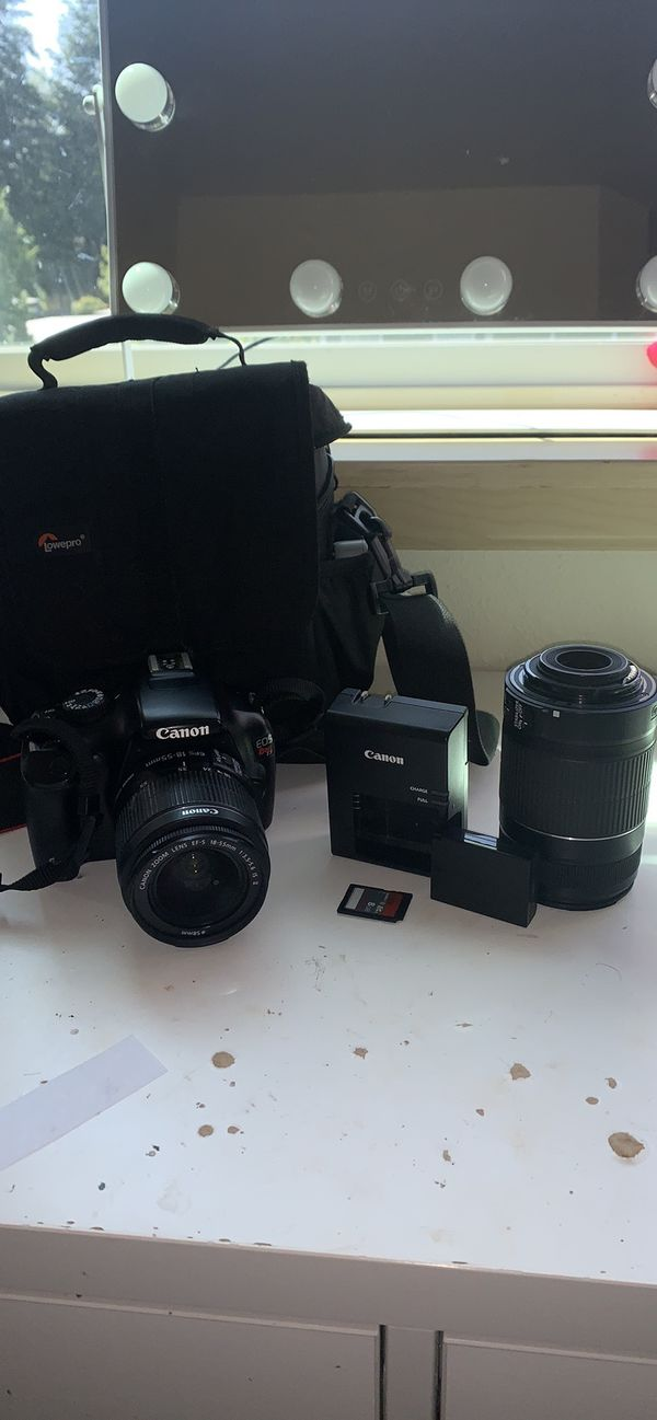 Canon t3i camera set with two lenses, Sd card , and camera bag and charger
