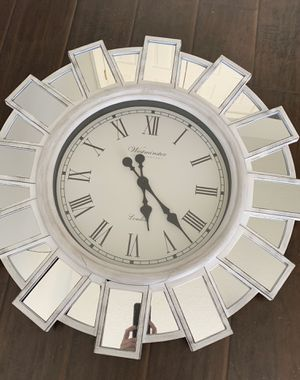 Large white and mirrored wall clock for Sale in Concord, NC