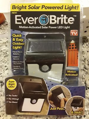 NEW Ever Brite Motion-Activated Solar Powered LED Light for Sale in Derwood, MD