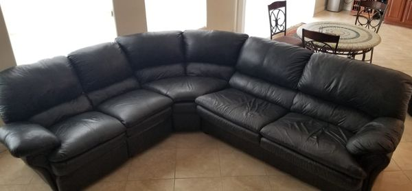 Sectional Sleeper Sofa Pull Out Bed Black Leather For