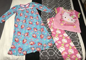 2 LITTLE GIRLS COTTON PAJAMAS - BLUE LITTLE MERMAID NIGHTGOWN AND PINK HELLO KITTY MATCHING SHIRT & PANTS PAJAMA SET for Sale in Colorado Springs, CO
