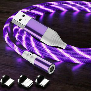 Purple glowing led magnetic 3 in 1 phone charging cable. 6.6ft for Sale in Los Angeles, CA