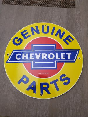Impala, bel air, chevy, c10, lowrider, bomb, chevrolet porcelain sign excellent condition for Sale in Clovis, CA