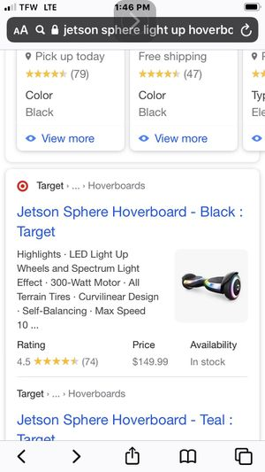Jets on light up hoverboard in box brand new never used for Sale in Puyallup, WA