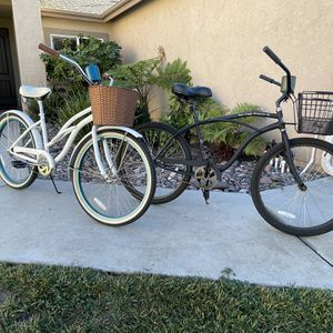 "His and Hers, San Diego Beach Cruiser Co. 26"" Beach Cruisers ""With Basket & Koozy"" for Sale in Lakeside, CA"