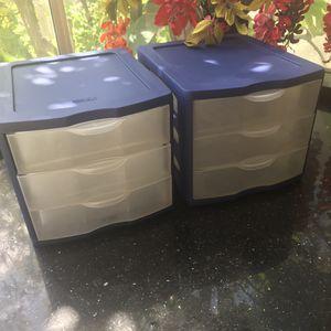 2 x sterilite 3 drawer plastic organizers for Sale in Laguna Hills, CA