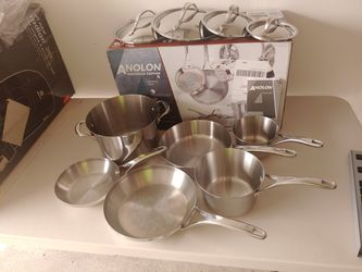Anolon Nouvelle Copper Stainless Steel Cookware 10 Piece Set for Sale in Costa Mesa,  CA
