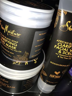 Shea moisture African black soap body mask face mask and face scrub for Sale in Boston, MA