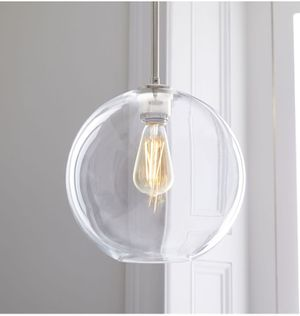 New west elm Sculptural Glass Globe Pendant Lights Mid Century Modern Clear/Nickel for Sale in Los Angeles, CA
