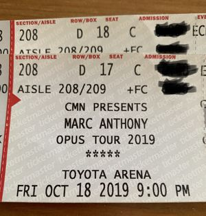 2 tickets Marc Anthony 18 oct for Sale in Huntington Park, CA