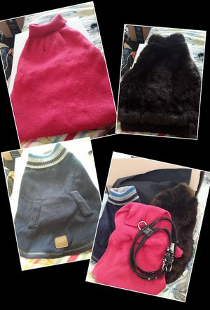 Medium dog sweaters and fur coat for Sale in Evansville, IN