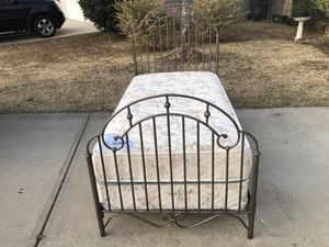 Metal Twin Bed with Frame, Mattress and Boxspring. Very good condition. Delivery available for Sale in Raleigh, NC