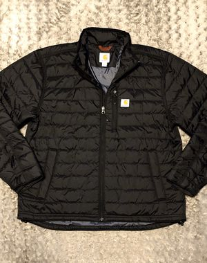 New! Mens Carhartt puffer jacket paid $120 size L Brand new never worn! Gilliam Black puffer light weight very warm inside pockets. Signature logo on for Sale in Washington, DC