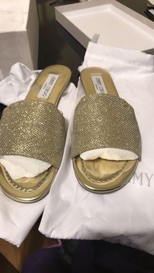Jimmy Choo Nanda Gold Slide Sandals Like New for Sale in Arlington, VA
