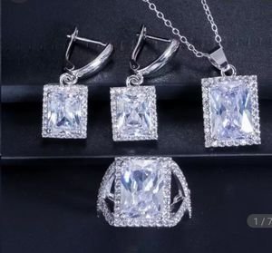 New beautiful princess cut faux-diamond cz Ring, Necklace and Earrings set for Sale in Troy, MI