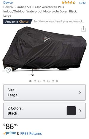 Dowco Guardian 50003-02 WeatherAll Plus Indoor/Outdoor Waterproof Motorcycle Cover: Black, Large for Sale in Los Angeles, CA