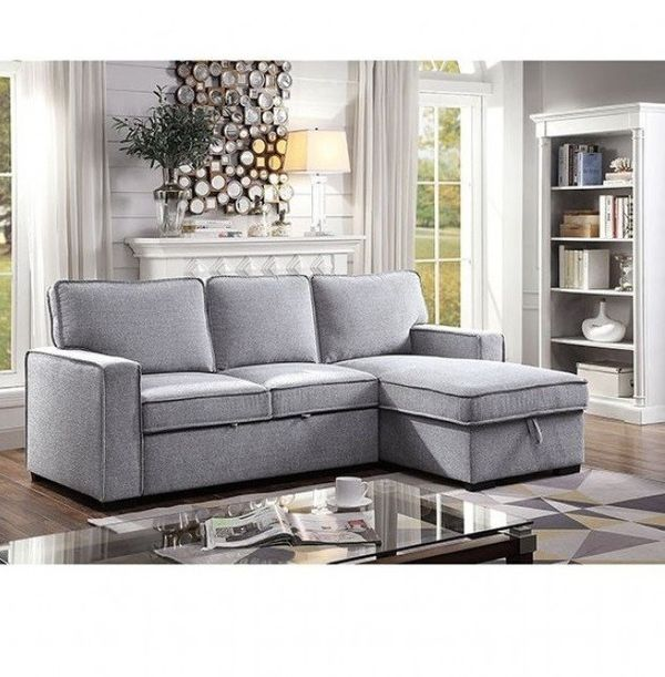 ❆❆GRAY LINEN LIKE FABRIC REVERSIBLE CHAISE SECTIONAL SOFA BED / SILLON CAMA❆❆
