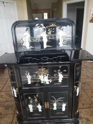 Vintage Mother Pearl Cabinet, storage, mirror wine rack for Sale in White Lake charter Township, MI
