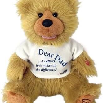 """Chantilly Lane 12"""" DAD Noah Bear. Press red circle on hand to play message of love & thanks for Dad. {url removed}"""