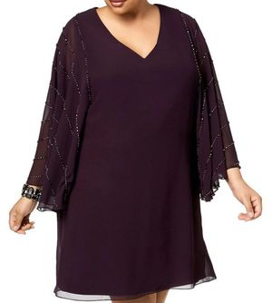 Formal Short Dresses Plus Size 16W Purple Betsy & Adam NEW WITH TAGS mother of the Bride Prom for Sale in Oak Lawn, IL