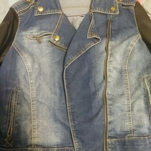 JOUJOU brand jacket with faux leather sleeves...size LARGE...faded detailing on front and back...great for spring and early fall for Sale in Chicago, IL