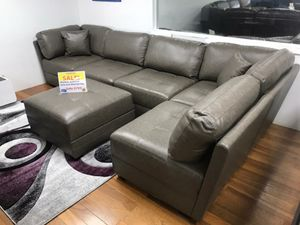 Monaco Grey Sectional Sofa and Ottoman $799. NO CREDIT CHECK FINANCING for Sale in Tampa, FL