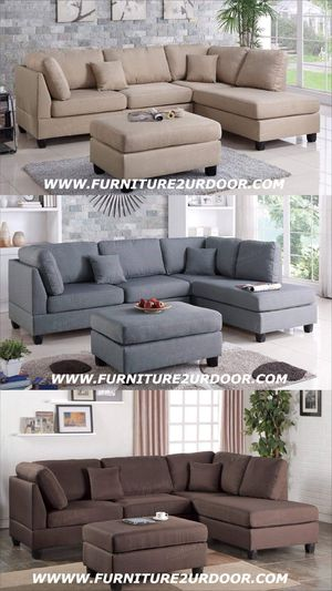 New sand, gray or brown polyfiber fabric sofa sectional with ottoman (reversible chaise) for Sale in Hemet, CA