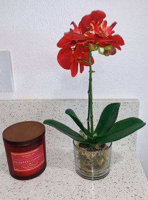 Faux realistic red orchid flower plant + red cranberry oakwood candle BUNDLE for Sale in Las Vegas, NV