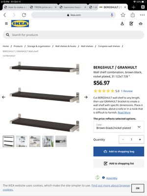 13 BLACK WALL SHELVES BRUSHED NICKEL END CAP BRACKETS MADE IN GERMANY for Sale in Eatontown, NJ