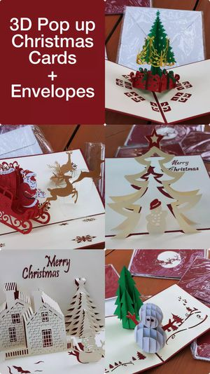 BRAND NEW Designer 3D Pop up Christmas Cards + Envelopes Xmas 3D Cutout Cards Christmas Tree Snowman Santa Sleigh with reindeer winter wonderland gift for Sale in Rancho Cucamonga, CA