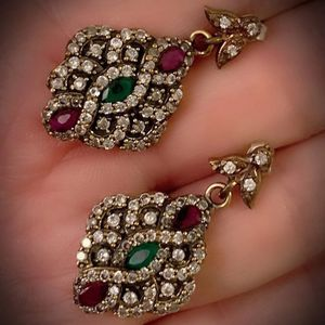 EMERALD PIGEON BLOOD RUBY FINE ART DANGLE EARRINGS Solid 925 Sterling Silver/Gold WOW! Brilliant Facet Marquise Cut Gems M9481 V for Sale in San Diego, CA