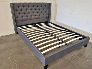 Queen-size gray nailhead platform bed for Sale in Tucson, AZ