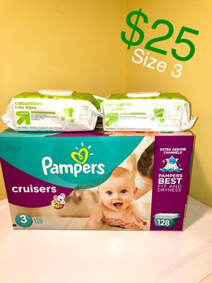 Pampers size 3 with 2 packs of wipes/ Pampers talla 3 y dos bolsas de wipes for Sale in Stickney, IL