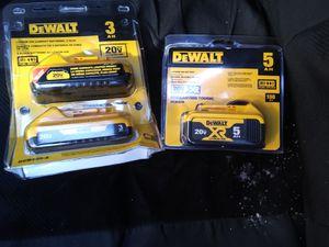 DEWALT BATTERIES, (1) 5ah, (1) TWO PACK OF 3ah, BRAND NEW for Sale in Poway, CA