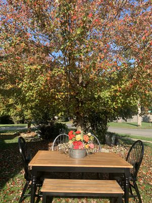 """Black farmhouse dining set 38x66"""" table 4 black chairs & bench buffalo plaid for Sale in Stafford Township, NJ"""