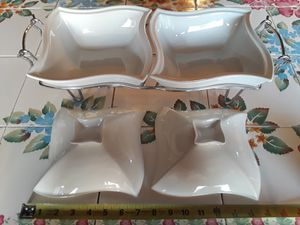 SIENA GODINGER Porcelain China Dual Servers with Rack and Lids (Good Condition) for Sale in Las Vegas, NV