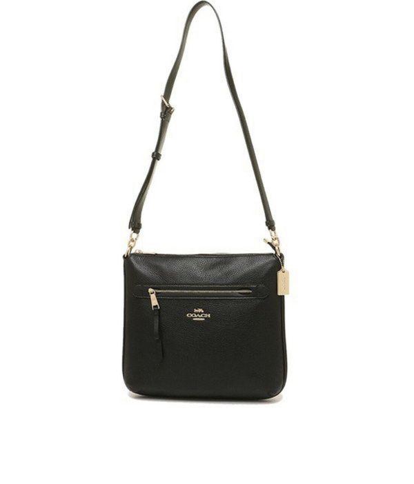 $65 NWT COACH Mae File Crossbody Bag Classic Purse Zip Purse Black Gold Logo F34823