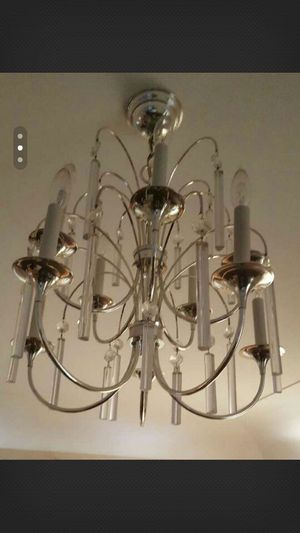 9 arm chandelier with hanging glass parts for Sale in Dearborn, MI