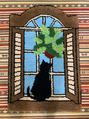 Vintage Cat in Window Latch Hook Rug for Sale in Issaquah, WA