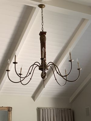 WOOD STEM FINISHED CHANDELIER ANTIQUE CHANDELIER, FRENCH WIRED, WOOD FLUTED COLUMN original retail over $3,600 for Sale in Los Angeles, CA