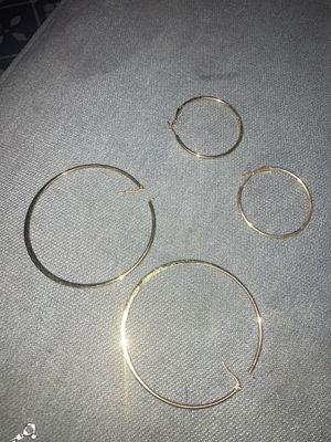 2 pair of gold plated hoop earrings 15$ r 2 for 20 for Sale in Port Orchard, WA