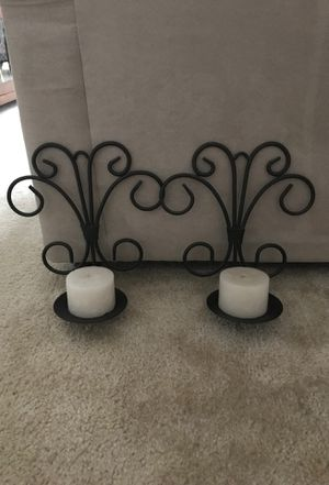 Iron Wall Hanging Candle Holder with Candles for Sale in North Bethesda, MD