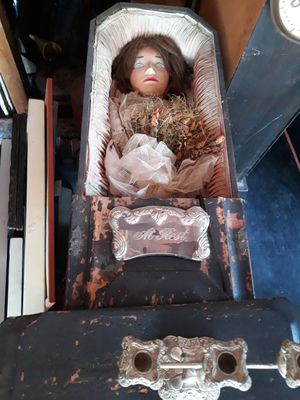 Vintage Mini 5 foot coffin with doll and candelabra for Sale in Villa Park, IL